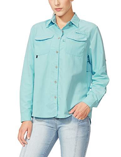 BALEAF Women's Hiking Long Sleeve Fishing Shirt UPF 50+ for Safari Camping Travelling Quick Dry Blue XXL