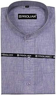 PROLIAN Men's Linen Light Purple Solid Formal Shirt