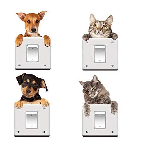 Gwill 16 pegatinas de interruptor de gato y perro extraíbles 3D para decoración del hogar, decoración del interruptor de luz calcomanías