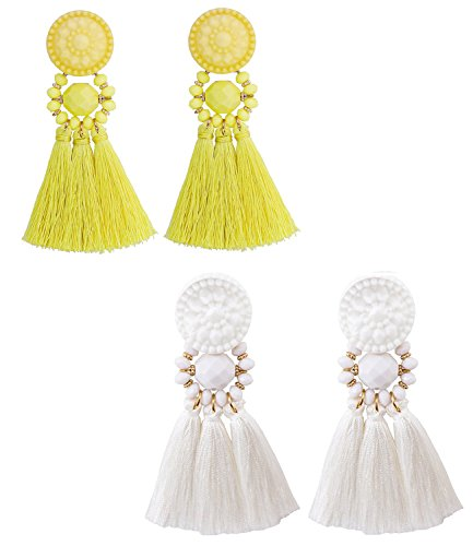 boderier Bohemian Statement Thread Tassel Chandelier Drop Dangle Earrings with Cassandra Button Stud (White and Yellow (set))