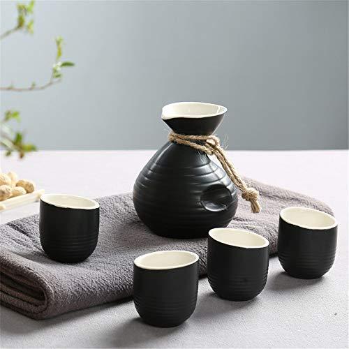 KCCCC Copa de Sake Tradicional Cerámica de cerámica Japonesa Sake Crafts El Juego Incluye 1 Sake pote y 4 Copas Copas de Vino de artesanía (Color : D, Size : 5-Piece)