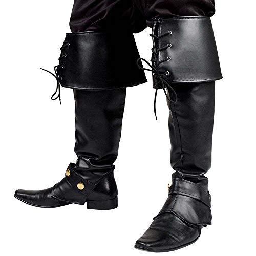 Boland 81995 - Stiefel Stulpen Ryder, Boot Top, für Damen und Herren, schwarz mit Schnürung, für Musketier, Pirat, Ritter, Mittelalter, Mottoparty, Karneval, Halloween Accessoire