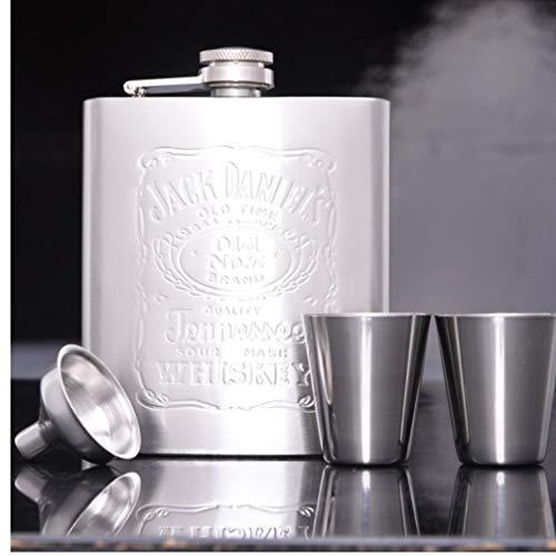 PiniceCore 7 oz portátil de Acero SteelHip Frasco Conjunto Whisky Frasco AlcoholBottle con Dos Vasos de Medida y el Embudo clásico Recipientes