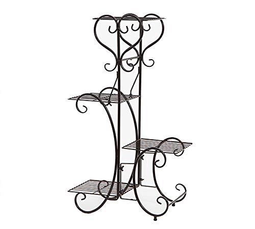 GWM Stand de Fleurs, Nordique Simple Art du Fer Plancher créatif Balcon Salon Industrie du bâtiment et de Plein air Loft Assiette de Fleurs Étagère de Rangement Marron