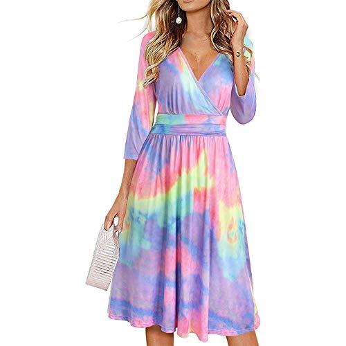 GLZBD 2021 - Vestido de noche elegante, de verano, estilo vintage, vestido de novia, vestido de cóctel, talla grande, falda plisada, vestido largo para niña violeta8 XXL