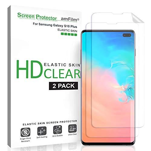 amFilm Schutzfolie für Galaxy S10 Plus (2 Stück), HD-Klar (Schutz Hüllenfre&liche) Elastische TPU Folie Bildschirmschutzfolie für Samsung Galaxy S10+