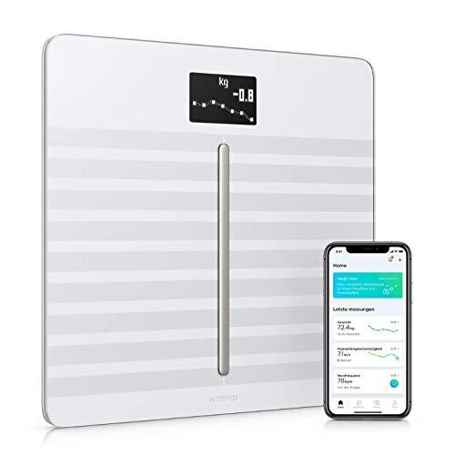 Withings Body Cardio – Premium WLAN-Smart-Waage mit Körperzusammensetzungsfunktion, Messung von Herzfrequenz, BMI, Körperfett, Muskelmasse, Wasseranteil %, digitaleKörperfettwaage