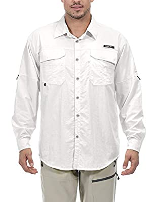 Little Donkey Andy Men's UPF 50+ UV Protection Shirt, Mosiquito Repellent Long Sleeve Fishing Hiking Shirt White XL
