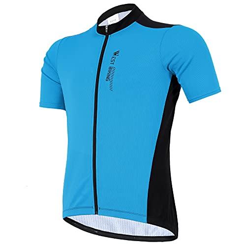 West Biking Herren Radtrikot Kurzarm, Fahrradtrikot Radsport T-Shirt mit 3 Rückentaschen, Atmungsaktives Sommer Fahrrad Trikot Schnelltrockend Trek Radtrikot Fahrradbekleidung, A-blau, Size L
