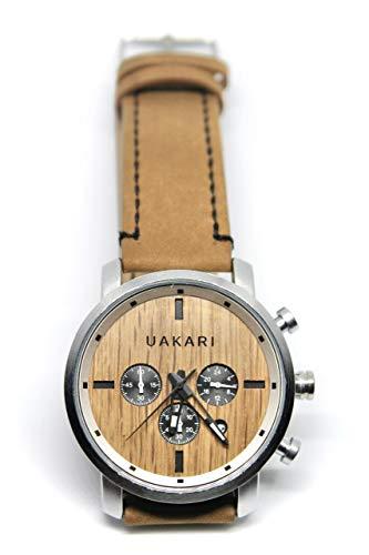 Uakari Reloj de Pulsera Giraffe - 46mm, Efecto Madera, Cuarzo Natural, Movimiento Japonés Miyota