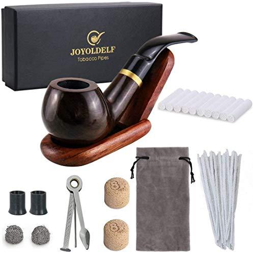 joyoldelf Set de Pipes à Tabac en Bois Pipes à Tabac en Ébène Courbé, avec Accessories Fumer, 3-en-1 Racloir en Acier Inoxydable, Nettoyeur de Tuyau, 9mm Filtre à Charbon Actif, Boîtes Cadeau