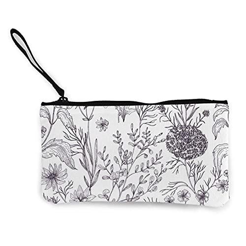 Blühende Kräuter und krautige Pflanzen Leinwand Geldbörse, Reise-Make-up-Tasche Geldbeutel Federmäppchen Brieftasche
