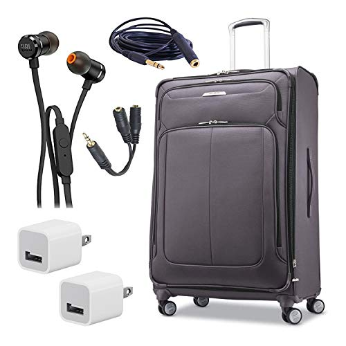 Samsonite Solyte DLX Softside Expandable Luggage with Spinner Wheels, Mineral Grey, Checked-Large, 29-Inch Bundle with JBL T290 Headphones + Extension Cable and Splitter + USB Wall Chargers
