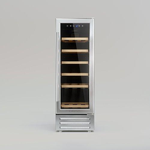 CAVISTXV3 Einbaukühlschrank/ 87 cm hoch/Fassungsvermögen 58L / 18 Flaschen/Elegantes Design mit Edelstahltüren/Einstellbare Temperatur von 5 ° C bis 22 ° C/UV-geschützte Türen