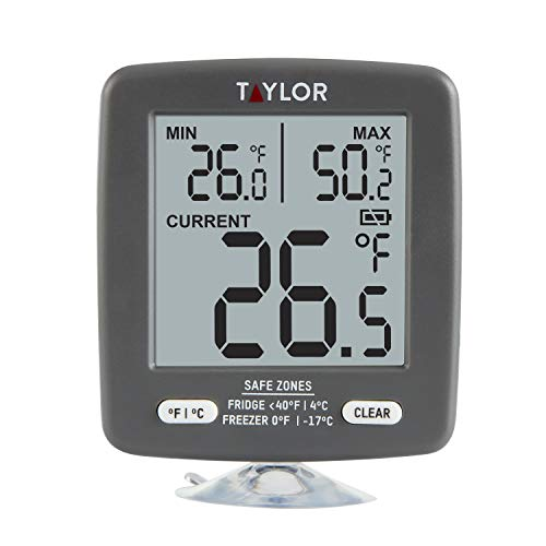 Taylor Precision Products LCD Display Digital Kitchen Refrigerator/Freezer Kitchen Thermometer Min/Max on Display, 2 inch display, Gray