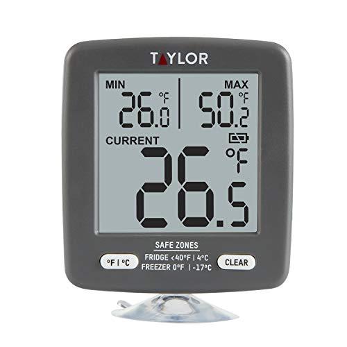 Taylor Precision Products - Termómetro digital para nevera y congelador (pantalla LCD de gran tamaño), color gris