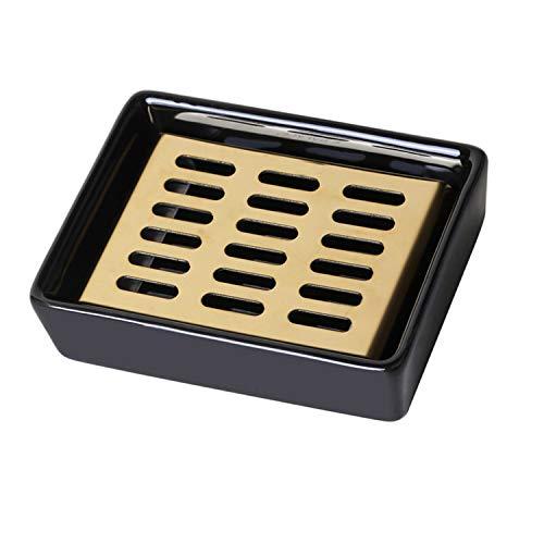 Raikedr, soporte de jabonera de cerámica de doble capa, de acero inoxidable, soporte de barra de jabón para baño, lavabo, baño, ducha, jabonera, soporte de esponja, fácil limpieza