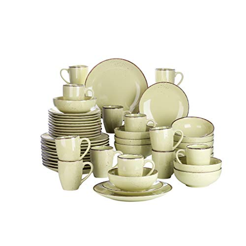 NXYJD Conjunto de vajillas de cerámica de gres 48 Piezas con Placa de Cena, Placa de Postre, tazón de 800 ml, Conjunto de Taza de 380 ml