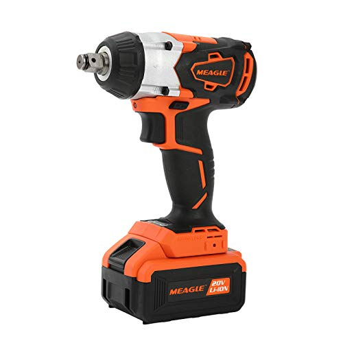 Meagle 20V MAX Brushless Cordless Impact Wrench with 1/2 Inch Square Drive, Max Torque 365 ft-lbs, 4 Ah Li-ion Battery, Fast Charger