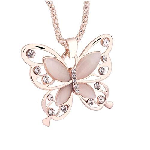 Collar de mujer de moda para mujer, oro rosa, ópalo y mariposa, collar con colgante de suéter, cadena para mujer