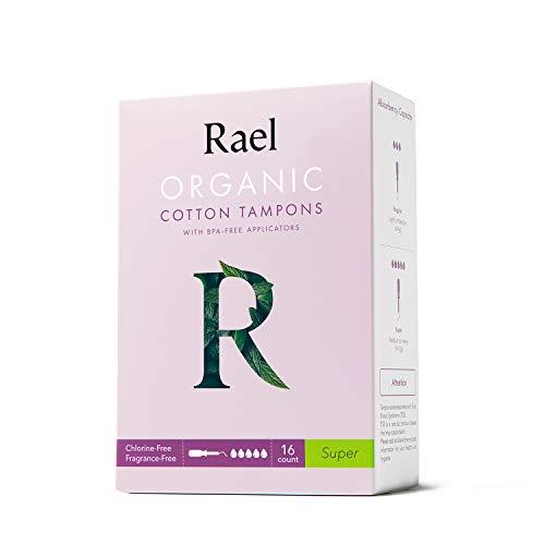 Rael Tampones de algodón orgánico Rael (Super), sin cloro (16 unidades) (2 paquetes, 32 unidades en total)