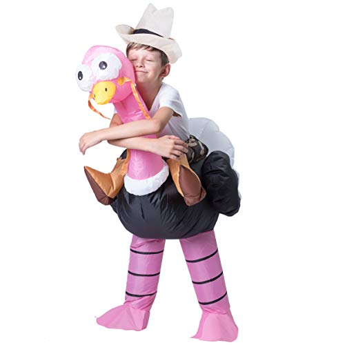 Spooktacular Creations Inflatable Costume Riding an Ostrich Air Blow-up Deluxe Halloween Costume - Child (4-6 Yrs) Pink