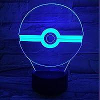 ポケモンポケモン3D LEDナイトライトクリエイティブホームデコレーション3Dビジョン3Dビジュアル照明7色変更USB充電テーブルランプ誕生日プレゼントエンターテイメント装飾ギフト子供のおもちゃ [並行輸入品]