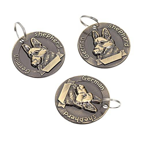 POPETPOP 3Pcsレトロな犬タグヴィンテージペットidタグ亜鉛合金ペット名チャームカードアンチロストペットidタグドイツシェパードの手紙犬パーソナライズ刻ま襟ペンダント