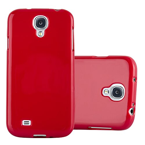 Cadorabo Hülle für Samsung Galaxy S4 - Hülle in Jelly ROT – Handyhülle aus TPU Silikon im Jelly Design - Silikonhülle Schutzhülle Ultra Slim Soft Back Cover Case Bumper