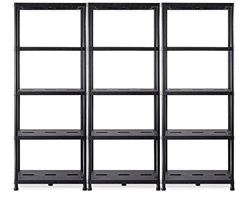Ondis24 Regal, Lagerregal, 71 x 35 x 180 (H) cm, Steckregal, Kunststoffregal, 15 Zoll Schwerlastregal, bis zu 180 kg belastbar (3 Stück)
