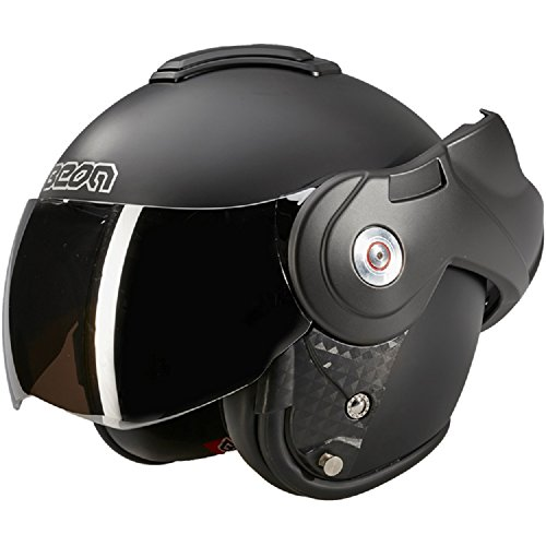 BEON B702 Reverse Matt Schwarz mit Dunkles visier - Klapphelm - Motorrad helm S