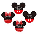 Mickey/Minnie Mouse Stickers Thank You Labels 2.38 x 2 Inch - Red Mickey Minnie Head'Thank You for Celebrating with Us' for Birthday Party Decoration (Red Mickey Mouse)