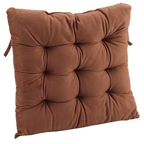 #N/A Liangwan cojines gruesos de la silla, almohadillas de asiento con lazos para sillas de comedor, cocina, jardín, en el cuadrado cómodo asiento interior al aire libre, color café