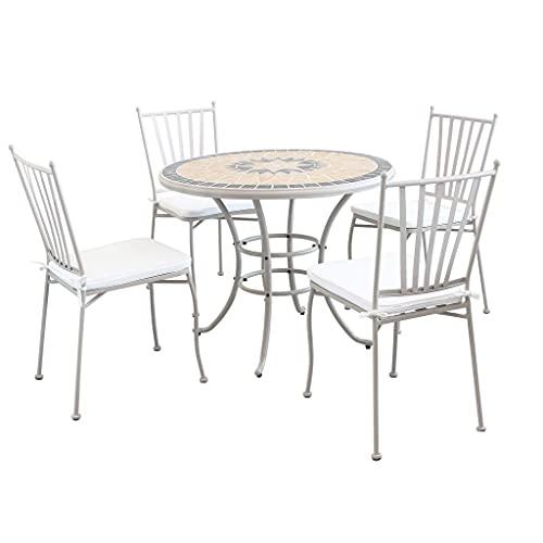 tavolo da giardino con sedie tondo Milani Home s.r.l.s. Set Tavolo Giardino Rotondo Fisso con Piano in Mosaico Diametro 90 con 4 Sedie in Ferro Tortora per Esterno