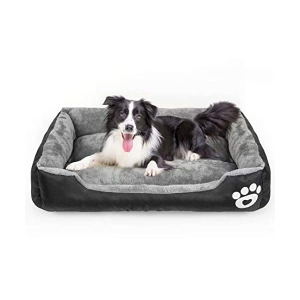 Calming Dog Bed, Warming Washable Rectangle Sleeping Orthopedic Sofa Pet Bed with...