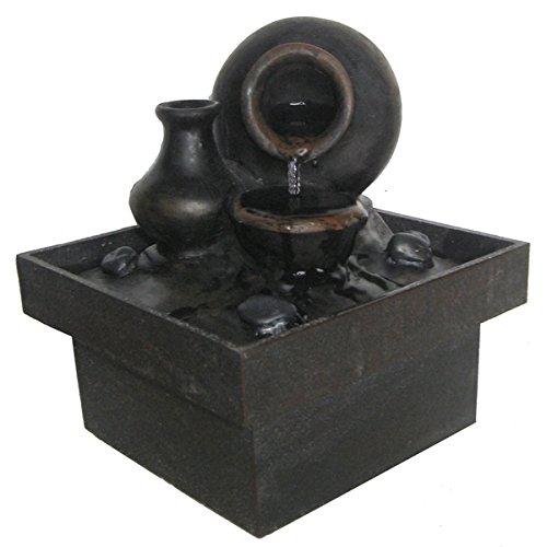 Zen Light SCFRPF7 Fontaine d'intérieur Pot, Marron et Noir