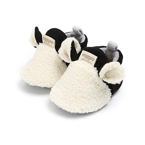 Vanornia Scarpine Primi Passi da Neonati Unisex in Cotone e Pile Invernali Calde con Morbida Suola Antiscivolo Casual Carino 0-18 Mesi (Bianco, 0-6 mesi)