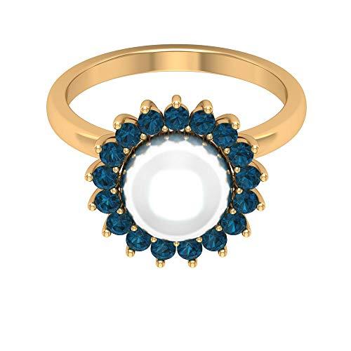 Rosec Jewels 18 quilates oro amarillo redonda White Blue Pearl Topacio azul - Londres