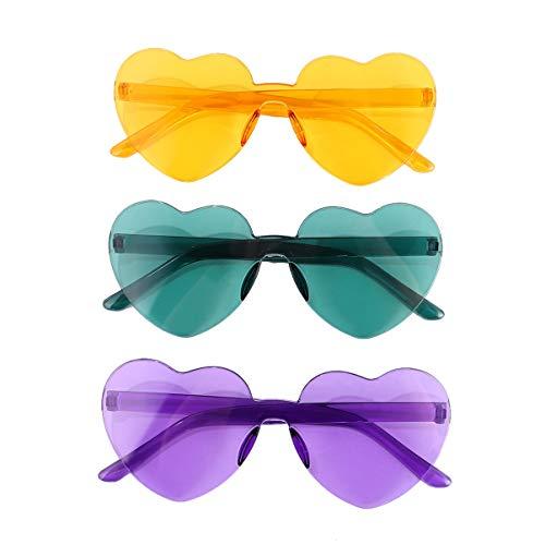 PRETYZOOM Gafas de Sol con Forma de Corazón de 3 Piezas Gafas sin Montura Transparentes sin Montura Color Caramelo Gafas de Amor Teñidas para Fiesta Cosplay Uso Al Aire Libre