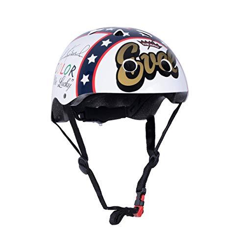KIDDIMOTO Fahrrad Helm für Kinder - CE-Zertifizierung Fahrradhelm - Design Sport Helm für Skates, Roller, Scooter, laufrad - Evel Knievel - M (53-58cm)