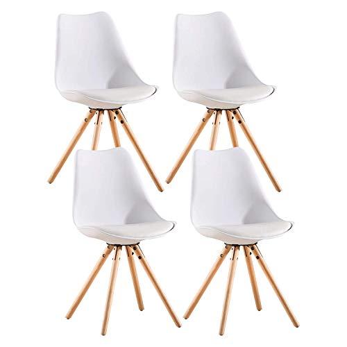 MIFI Set di 4 Sedie da Pranzo, Poltrona retrò Tulip Design con Morbido Cuscino in PU e Gambe in Legno, Sedia Moderna in Legno Confortevole per Sala da Pranzo, Soggiorno (Bianco)