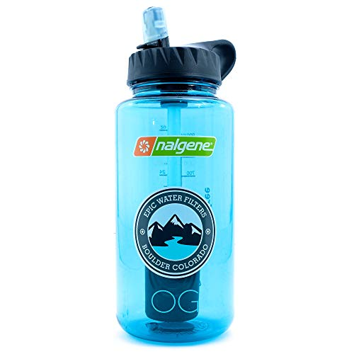 Epic Nalgene OG   Water Filtration Bottle   Wide Mouth 32 oz   American Made Bottle   USA Made Filter Removes 99.99% of Tap Water Contaminants Lead Chlorine Chromium 6 Arsenic Chloroform (Cerulean)