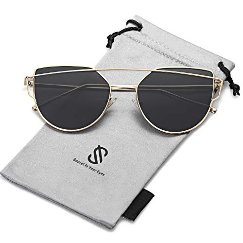 SOJOS Cat Eye Sunglasses for Women Fashion Designer Style Mirrored Lenses SJ1001 with Gold Frame/Grey Lens