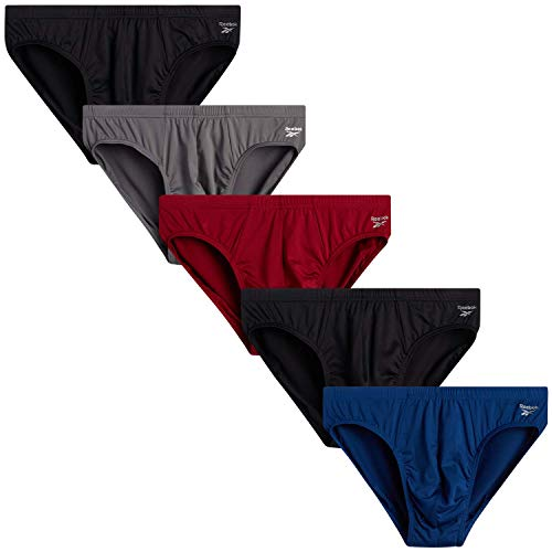 Reebok Men's Underwear - Low-Rise Quick Dry Performance Briefs (5 Pack), Size Medium, Black/Red/Charcoal/Navy
