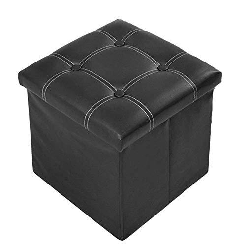 Ducomi Soraya - Puf con reposapiés, taburete plegable de piel sintética, baúl para juegos, sillón contenedor para salón, decoración de diseño italiano, 39 x 39 x 36 cm (negro)