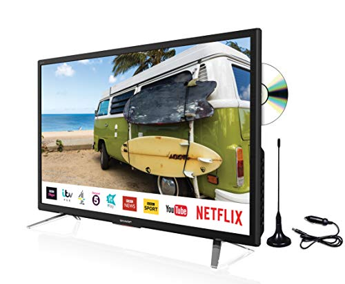 Sharp 24' Smart LED DVD 12v/24v TV with Freeview Play, Satellite, Saorview, PVR, LC-24DHG6132KFM