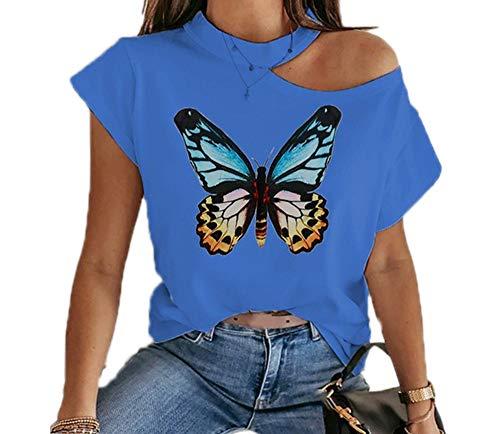 Frauen Kurzarm Ausgeschnitten T-Shirt Tops Casual Schmetterling Cold Shoulder Gradient Bluse Tee