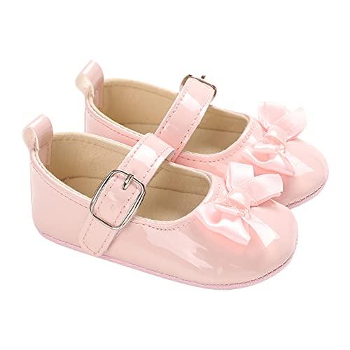 Zukmuk Scarpe Primi Passi Bimba Neonato Scarpe da Principessa Morbida Pelle Antiscivolo Scarpette per Neonata 0-18 Mese (Rosa, 6-12 Mese)