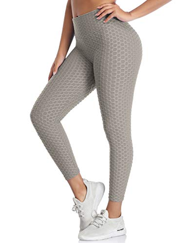 SHAPERIN Anti-Cellulite Kompressionshose Damen Yoga Sport leggings Hohe Taille Jogginghose Honeycomb geraffte Leggins für Training Butt Lift Fitness Hose Workout Laufhose Sport Tights(Grau,M)