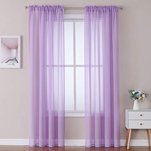 MIULEE Purple Linen Textured Sheer Curtain for Bedroom/Living Room Semi Transparent Farmhouse Window Net Panels with Rod Pocket 2 Pieces W 54 x L 84 inches Long
